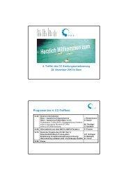 Rück- / Ausblick auf Aktivitäten im CC - VSA