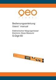 Bedienungsanleitung Users' manual S-Digit 60 - geo-FENNEL GmbH