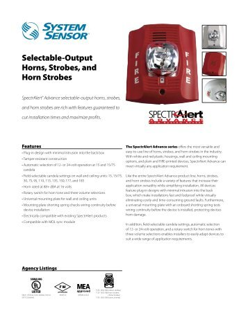 Spectralert Selectable Output Outdoor Strobes Horn And