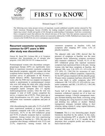 Recurrent vasomotor symptoms common for EPT users ... - Urogyn.org