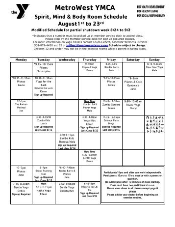 August Spirit, Mind & Body Room Schedule - MetroWest YMCA