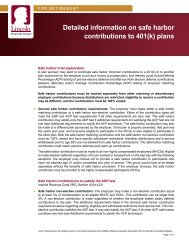 Detailed information on safe harbor contributions to 401(k) plans