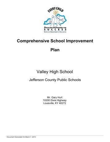 Comprehensive School Improvement Plan Valley High School