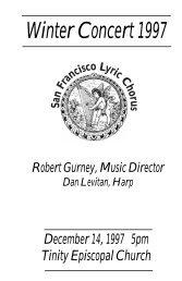 New Mechem program - San Francisco Lyric Chorus