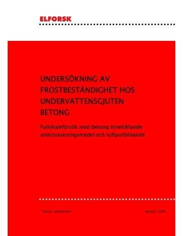 undersökning av frostbeständighet hos undervattensgjuten betong