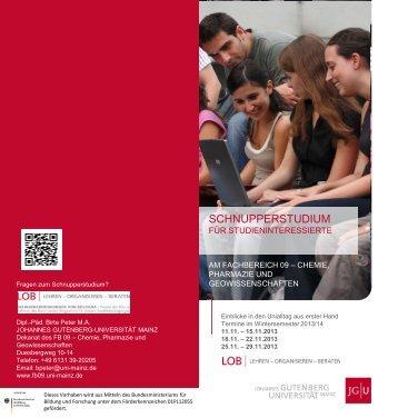 Flyer - Schnupperstudium für Studieninteressierte - Fachbereich ...