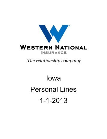 PL - IA 01/01/2013 Rates and Manuals - Western National Insurance ...