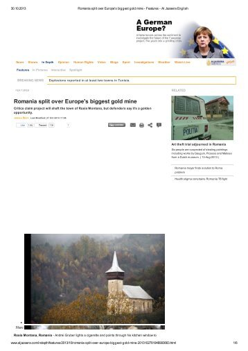 Romania split over Europe's biggest gold mine - Expert Forum