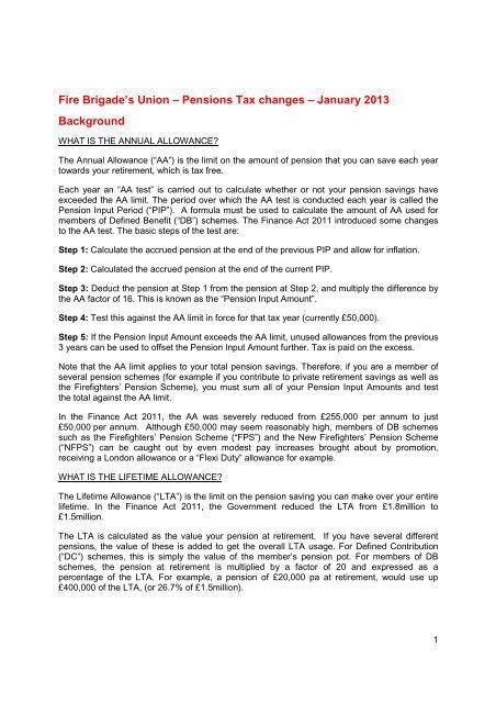 FBU - bulletin on tax relief 2013 FINAL.pdf - Fire Brigades Union