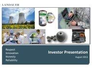 Investor Presentation - August 2013 - Landauer