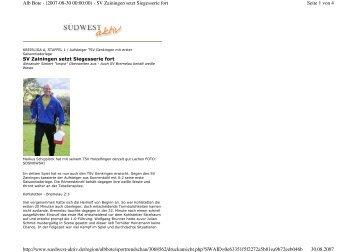 Seite 1 von 4 Alb Bote - (2007-08-30 00:00:00) - SV Zainingen setzt ...