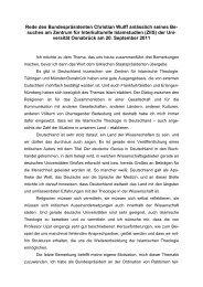 Rede des Bundespräsidenten Christian Wulff anlässlich seines Be ...