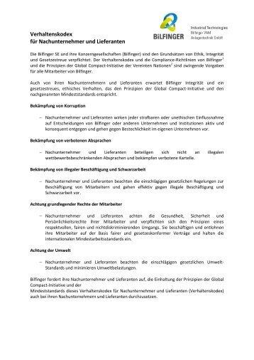 Verhaltenskodex für Nachunternehmer und Lieferanten