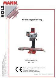 Bedienungsanleitung Fräsmaschine BF 25VL