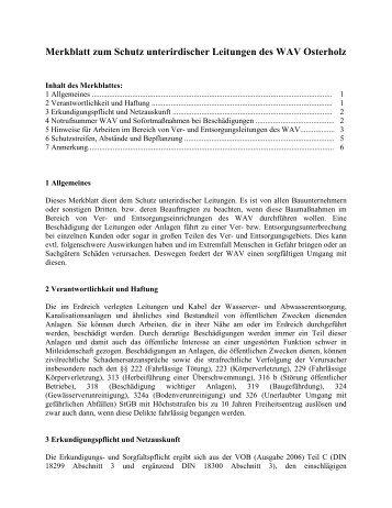 Merkblatt zum Schutz unterirdischer Leitungen des WAV Osterholz