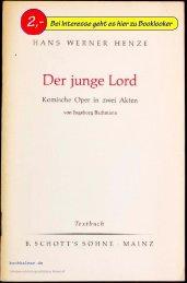 Hans Werner Henze Der junge Lord. Textbuch. Komische Oper in ...