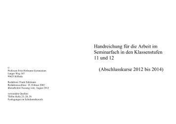 Handreichung für die Arbeit im Seminarfach 2014 - Gymnasium ...
