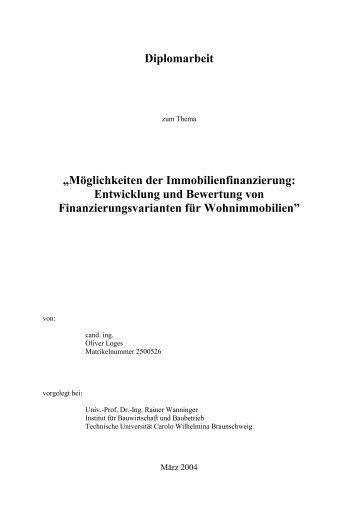 """Diplomarbeit """"Möglichkeiten der Immobilienfinanzierung - Altmeppen"""