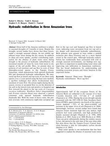 Hydraulic redistribution in three Amazonian trees - Woods Hole ...
