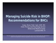 Managing Suicide Risk in BHOP - Defense Centers of Excellence