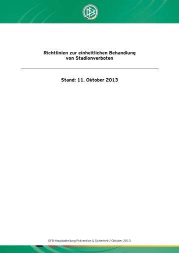 Richtlinien zur einheitlichen Behandlung von Stadionverboten ...