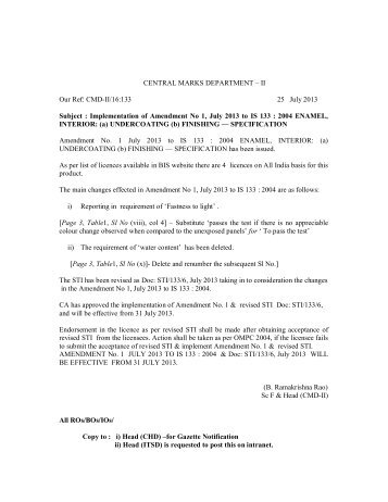CENTRAL MARKS DEPARTMENT – II Our Ref: CMD-II/16:133 ... - Bis