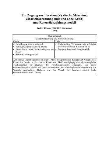 Arbeitsblatt 1 - Berechnung von Zinseszinsen – Zyklische Maschine