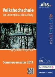 vhs Kursprogramm SS2013 fp - Volkshochschule Marburg