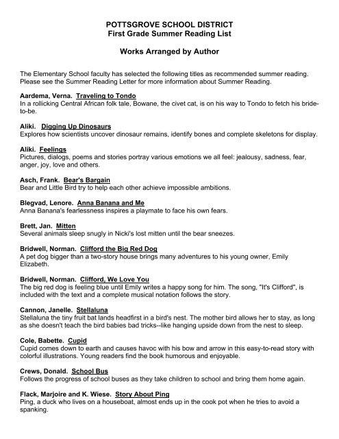 First Grade Summer Reading List - Pottsgrove School District