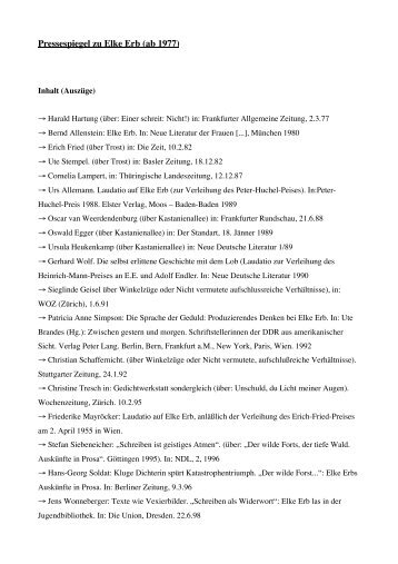 Pressespiegel zu Elke Erb (ab 1977) - Urs Engeler Editor
