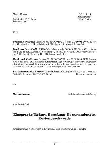 Einsprache/Rekurs/Berufungs-Beanstandungen ... - Hydepark