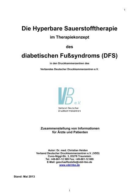 Die Hyperbare Sauerstofftherapie diabetischen Fußsyndroms (DFS)