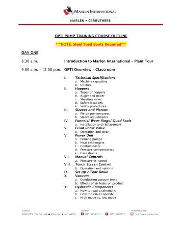 OPTI PUMP TRAINING COURSE OUTLINE ***NOTE: Steel Toed ...