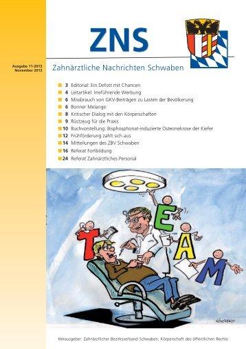 ZNS Ausgabe 11/2013 ist online - Zahnärztlicher Bezirksverband ...