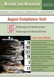 August-Compliance-Test! - RACK rechtsanwaelte
