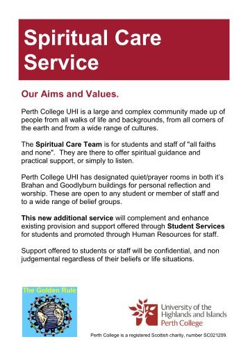Spiritual care service leaflet - Perth College