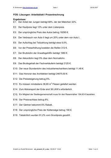 FOS: Lösungen: Arbeitsblatt I Prozentrechnung - BBS Lingen