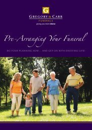 Pre-arranging your funeral Brochure - Gregory & Carr Funerals