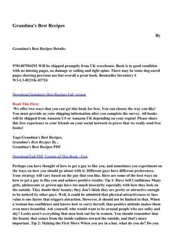 Grandma's Best Recipes pdf ebooks by free download