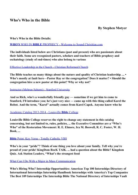 Download Who's Who in the Bible pdf ebooks by Stephen Motyer