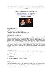 The Age of Shakespeare and Cervantes - Universidad de Salamanca