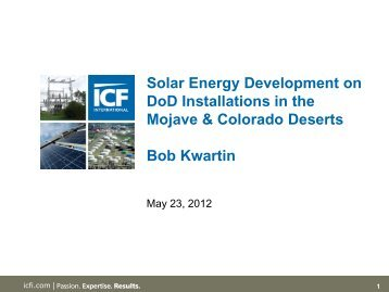 Solar Energy Development on DoD Installations in the Mojave - E2S2