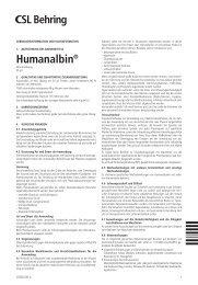 Gebrauchsinformation Humanalbin ® für den Anwender