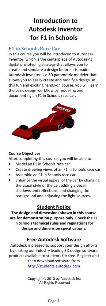 Introduction to Autodesk Inventor for F1 in Schools