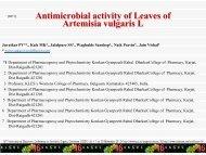 Antimicrobial activity of Leaves of Artemisia vulgaris L