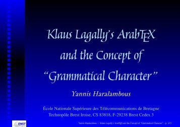 "Klaus Lagally's ArabTEX and the Concept of ""Grammatical Character """