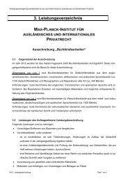 3. Leistungsverzeichnis - Max-Planck-Institut für ausländisches und ...