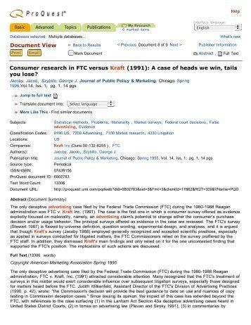 Document View Consumer research in FTC versus Kraft - College ...
