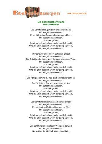 Die Schriftstellerhymne - Frank Wedekind
