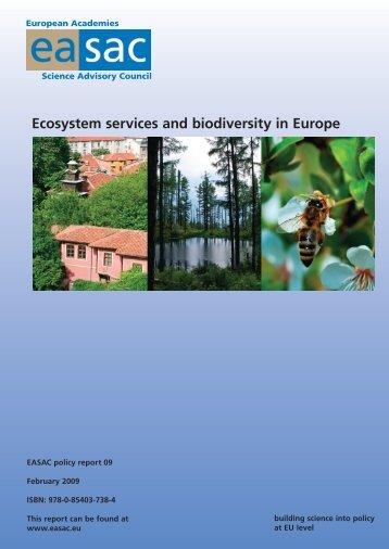 Ecosystem services and biodiversity in Europe - SAZU